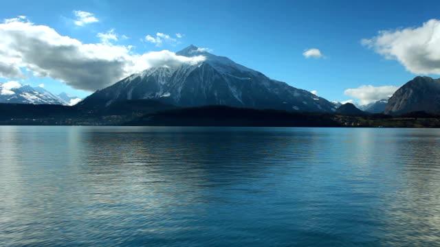 thun lake and pyramid niesen in switzerland - lake thun stock videos and b-roll footage