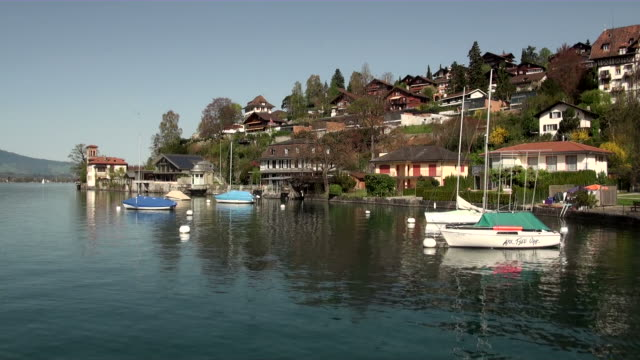 ws thun lake at oberhofen  / oberhofen, bernese oberland, switzerlan - lake thun stock videos and b-roll footage