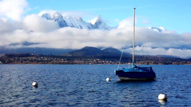 thun lake in awiss alps - lake thun stock videos and b-roll footage