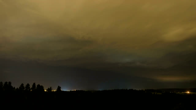 Thunder squalls at night, timelapse