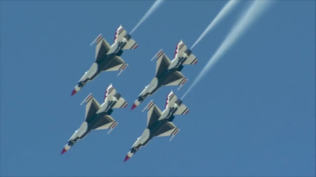 thunderbirds flying in the sky - thunderbirds stock videos and b-roll footage