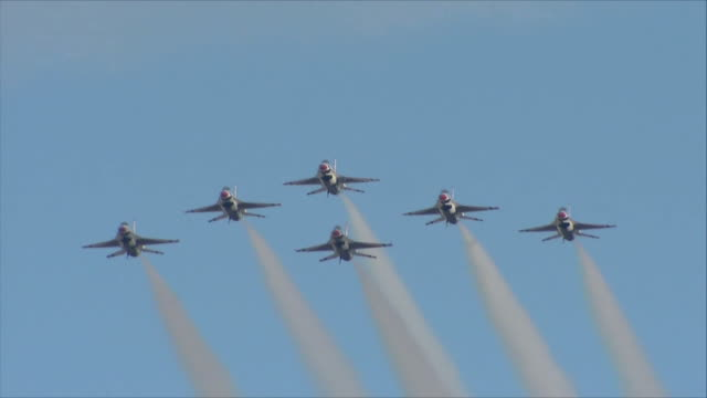 Thunderbirds flying in the sky