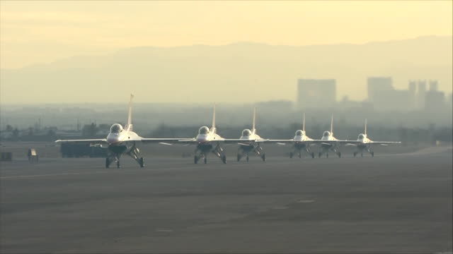 thunderbirds moving at the airport - nellis air force base stock videos and b-roll footage