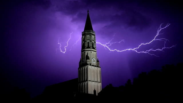 thunderbolt and lightning at church tower - clock tower stock videos & royalty-free footage