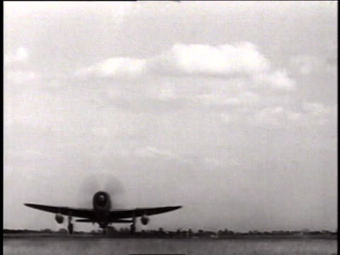thunderbolt fighters speeding down runway and taking off in pairs / united kingdom - 1944 stock videos and b-roll footage