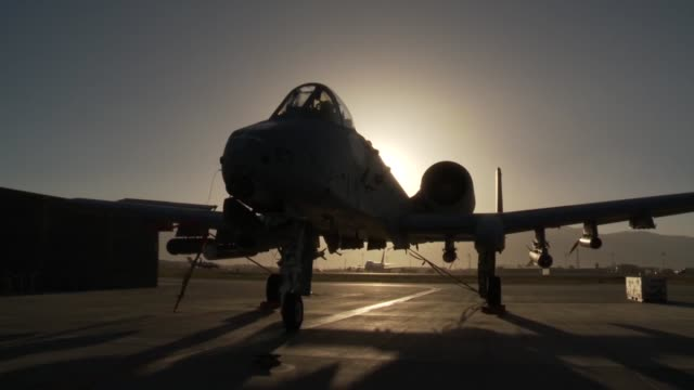 Thunderbolt II aircraft of the 303rd Expeditionary Fighter Squadron at Bagram Airfield Afghanistan during sunset hours
