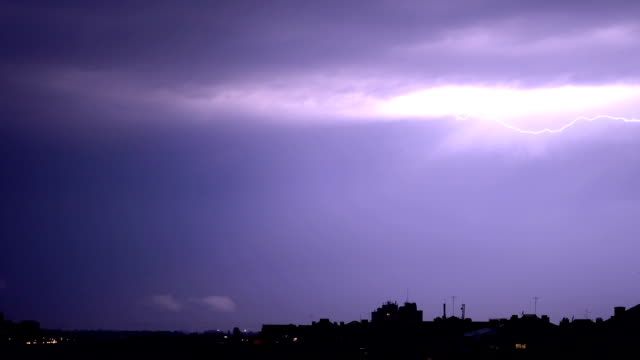 thunderstorm above city - forked lightning stock videos & royalty-free footage