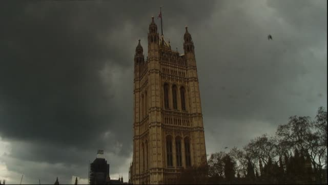 thunderstorm and stormy skies over houses of parliament westminster - storm cloud stock videos & royalty-free footage