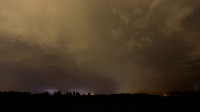 Thunderstorm at night, timelapse
