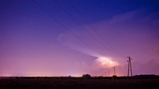thunderstorm, baranja, croatia - electricity pylon stock videos and b-roll footage
