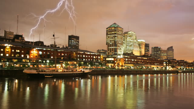 t/l, ws, thunderstorm over puerto madero, buenos aires, argentina, ha - puerto madero stock videos & royalty-free footage