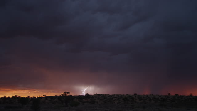 ws thunderstorm over south african desert - overcast stock videos & royalty-free footage