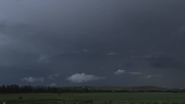 t/l ws pan thunderstorm with lightning flashing over green fields and horses at dusk / blue mountains, new south wales, australia - mountain range stock-videos und b-roll-filmmaterial