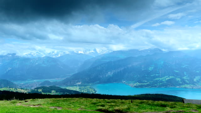 thunersee(german) scenic area - lake thun stock videos and b-roll footage