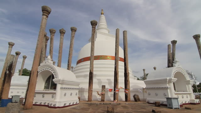 ms thuparama dagoba, first dagaba built in sri lanka after introduction of buddhism, contains collarbone of buddha / anuradhapura, north central province, sri lanka - sri lankan culture stock videos & royalty-free footage