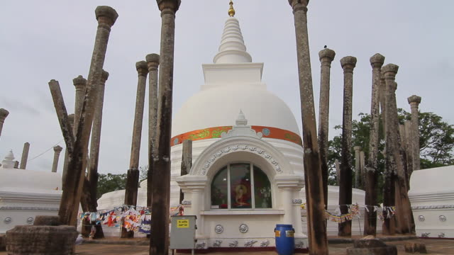 ms thuparama dagoba, first dagaba built in sri lanka after introduction of buddhism, contains collarbone of buddha / anuradhapura, north central province, sri lanka - religious equipment stock videos & royalty-free footage