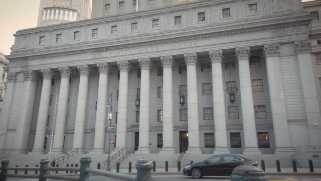 thurgood marshall united states courthouse building exterior located at 40 foley square in lower manhattan new york city during sunset. filmed during... - supreme court justice stock videos & royalty-free footage