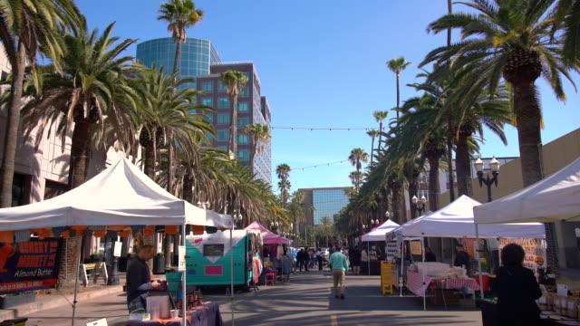 pov thursday downtown anaheim certified farmers' market / anaheim, ca, usa - anaheim california stock videos & royalty-free footage
