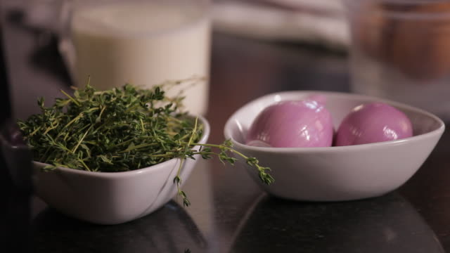 Thyme and shallots in restaurant