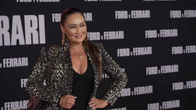 """stockvideo's en b-roll-footage met tia carrere at the """"ford v ferrari"""" premiere at tcl chinese theatre on november 04, 2019 in hollywood, california. - tia carrere"""