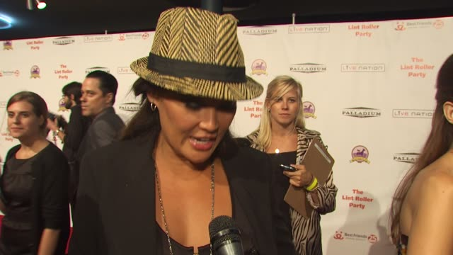 vídeos de stock e filmes b-roll de tia carrere on attending tonight's event, on what impresses her about best friends animal society, and on if she has any pets right now at the 16th... - tia