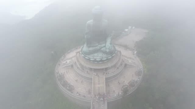 tian tan big buddha aerial view in hong kong - tian tan buddha stock videos and b-roll footage