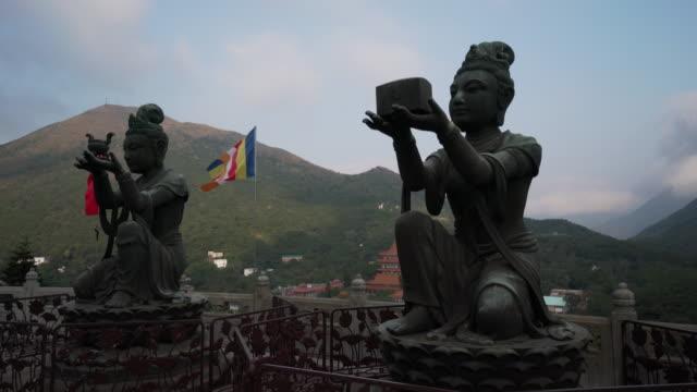 tian tan buddha statues in china, tracking shot - tian tan buddha stock videos and b-roll footage