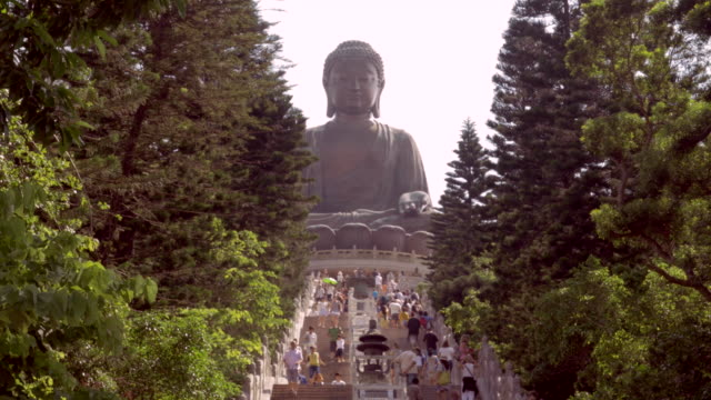 Tian Tan Buddha, steps, and tourists on Lantau Island