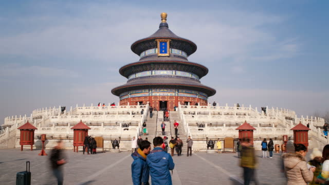 tian tan complex, temple of heaven, qinian dian temple, beijing, prc, people's republic of china, asia - time lapse - temple of heaven stock videos & royalty-free footage