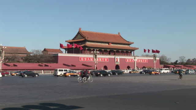 tian'an men square traffic - tiananmen square stock videos and b-roll footage