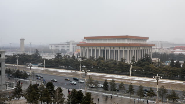 tiananmen square after the heavy snow,beijing - tiananmen square stock videos and b-roll footage
