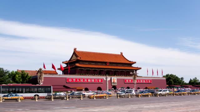 vídeos de stock, filmes e b-roll de t/l ws tiananmen square / beijing, china - portão da paz celestial de tiananmen