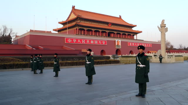 tiananmen square, gate of heavenly peace, forbidden city, beijing, china - tiananmen square stock videos & royalty-free footage