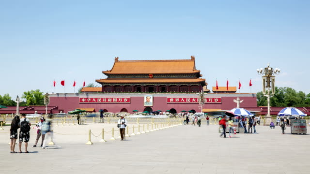 tiananmen square, gate of heavenly peace - tiananmen square stock videos and b-roll footage