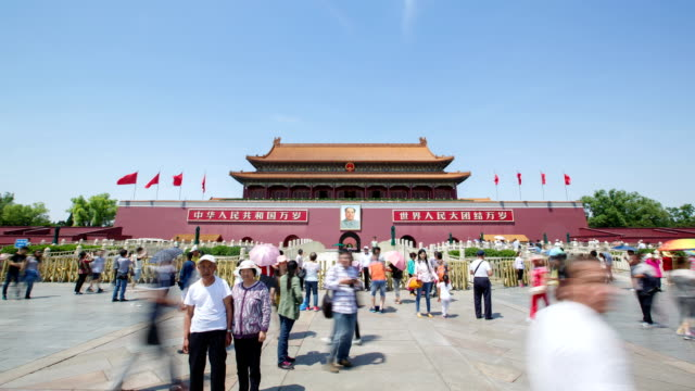 tiananmen square, gate of heavenly peace - tiananmen gate of heavenly peace stock videos & royalty-free footage