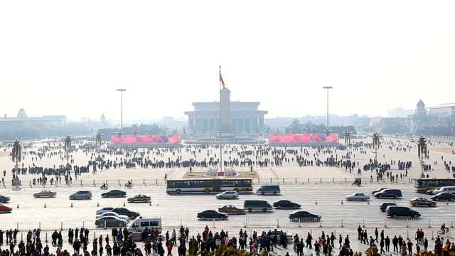 piazza tiananmen - mao tse tung video stock e b–roll