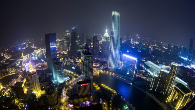 tianjin at night time lapse - hai river stock videos & royalty-free footage