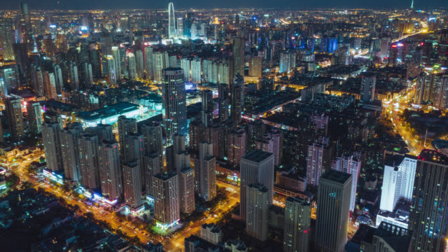 tianjin cityscape hyperlapse - drone point of view stock videos & royalty-free footage