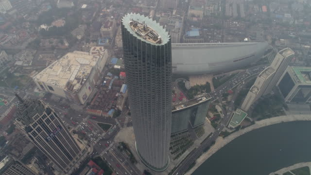 tianjin global financial center aerial view - tianjin stock videos & royalty-free footage