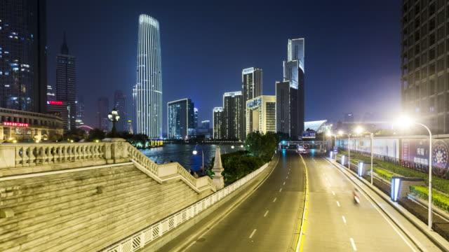 tianjin traffic at night - tianjin stock videos and b-roll footage