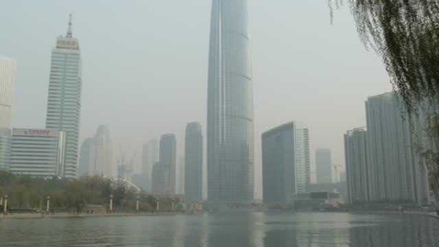 tianjin world financial center, tianjin, china - hai river stock videos & royalty-free footage