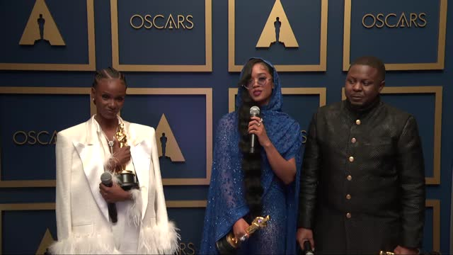 tiara thomas, h.e.r., dernst emile ii at the93rd annual academy awards - press roomonapril25, 2021. - academy awards stock videos & royalty-free footage
