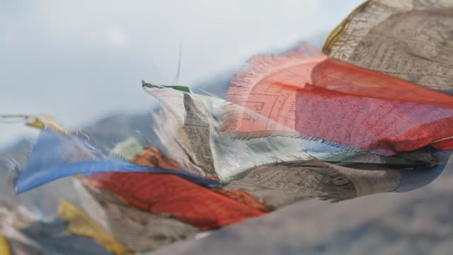 tibetan buddhism prayer flags leh ladakh,india - tibet stock videos & royalty-free footage