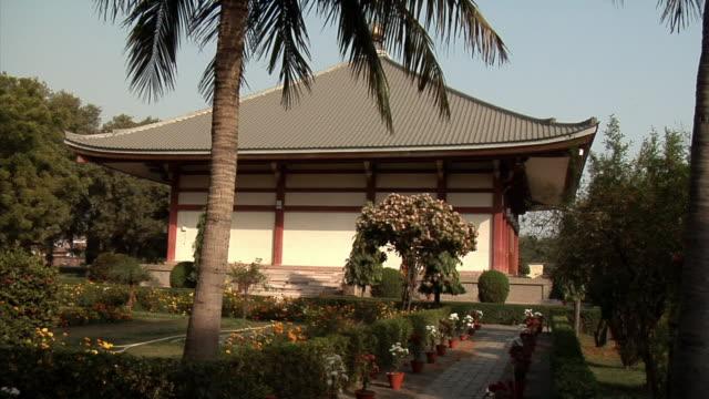 vídeos y material grabado en eventos de stock de ws, tibetan monastery, bodh gaya, bihar, india - palmera abanico