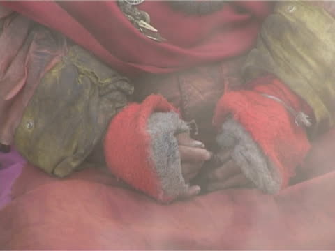 tibetan moving hands holding prayer beads - worry beads stock videos & royalty-free footage