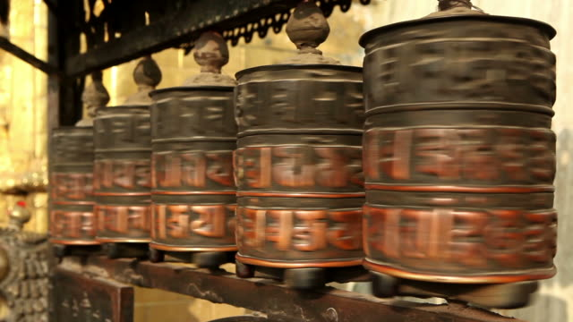 tibetan prayer wheel nepal - symbol stock videos & royalty-free footage