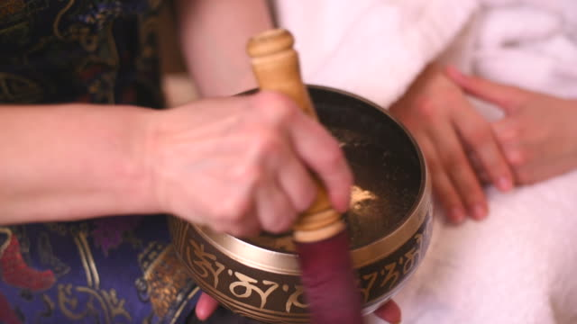 tibetan singing bowls in action - recovery stock videos & royalty-free footage