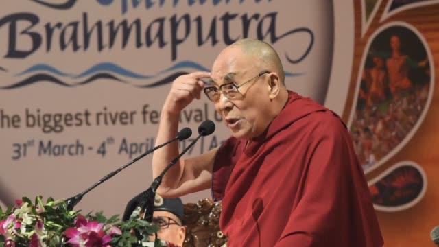 Tibetan spiritual leader the Dalai Lama attends a river festival in Guwahati in India before leaving for Tawang near the Chinese border