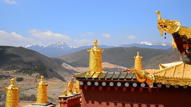 vídeos y material grabado en eventos de stock de templo tibetano monasterio de songzanlin de shangri-la ciudad de yunnan, china - full hd format