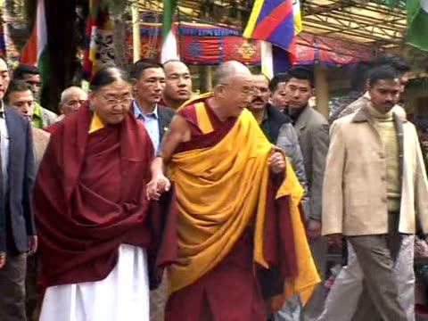 tibetans in india pray for longevity for the dalai lama, as the 73-year-old spiritual leader prepares to mark the 50th anniversary of his exile from... - traditionally tibetan stock videos & royalty-free footage